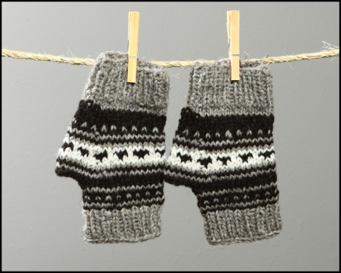Salish Fingerless Mitts - $35.00  (code: salish mitts 2 FS)