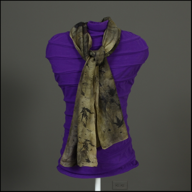 "102 scarf eco print - $25.00 (plus $3 shipping) scarf measures 11""x58"", silk ecoprint"