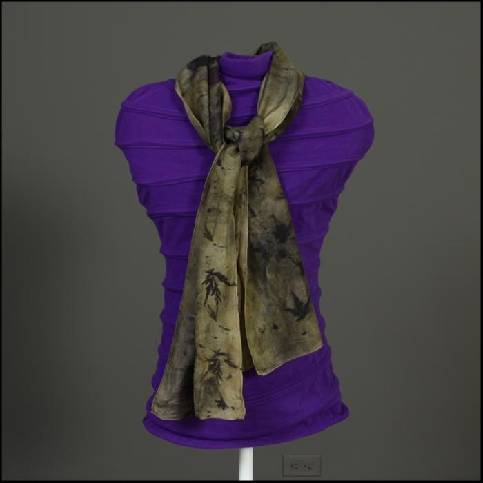 "102 scarf eco print - $25.00 (plus $3 shipping) scarf measures 11""x58"", silk ecoprint"