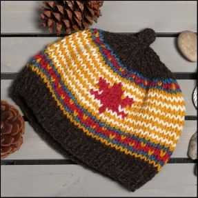 #102 - Youth Hat (age 5-11 years), hand knit naturally dyed wool - $60.00 (plus $6 shipping)