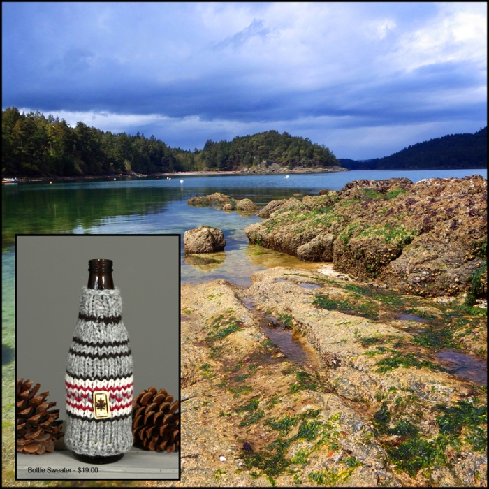 Starvation Bay, Pender Island, and a Bottle Sweater available at Talisman Books and Gallery on Pender Island.